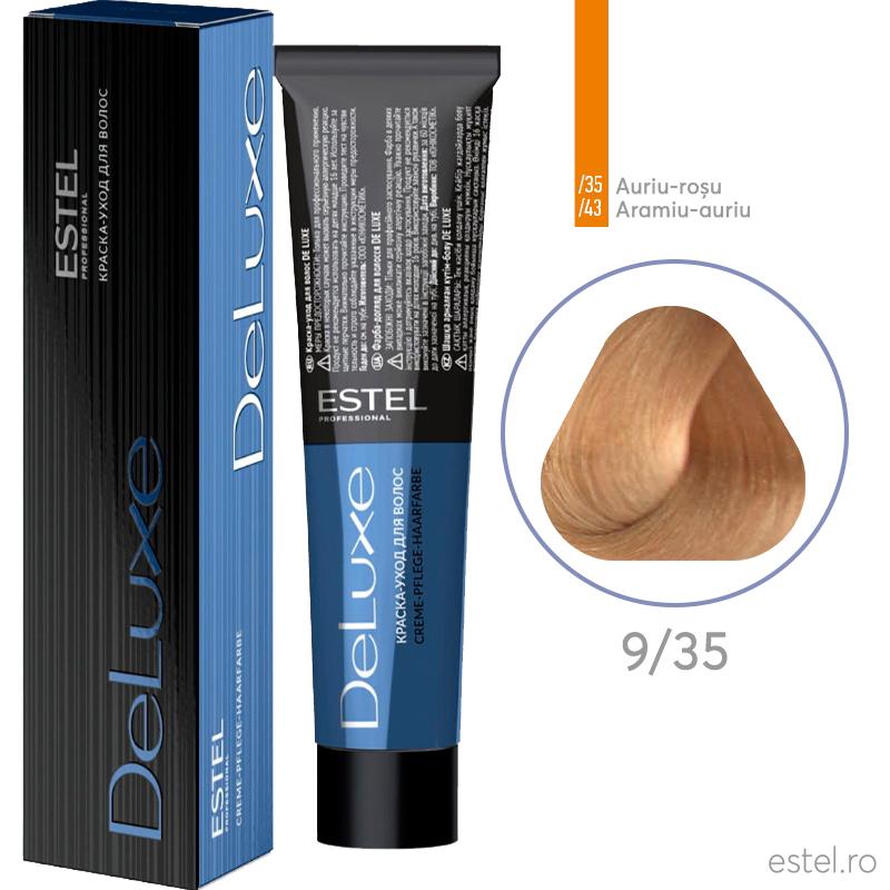 Vopsea permanenta de par De Luxe 9/35 Blond auriu-rosu 60 ml