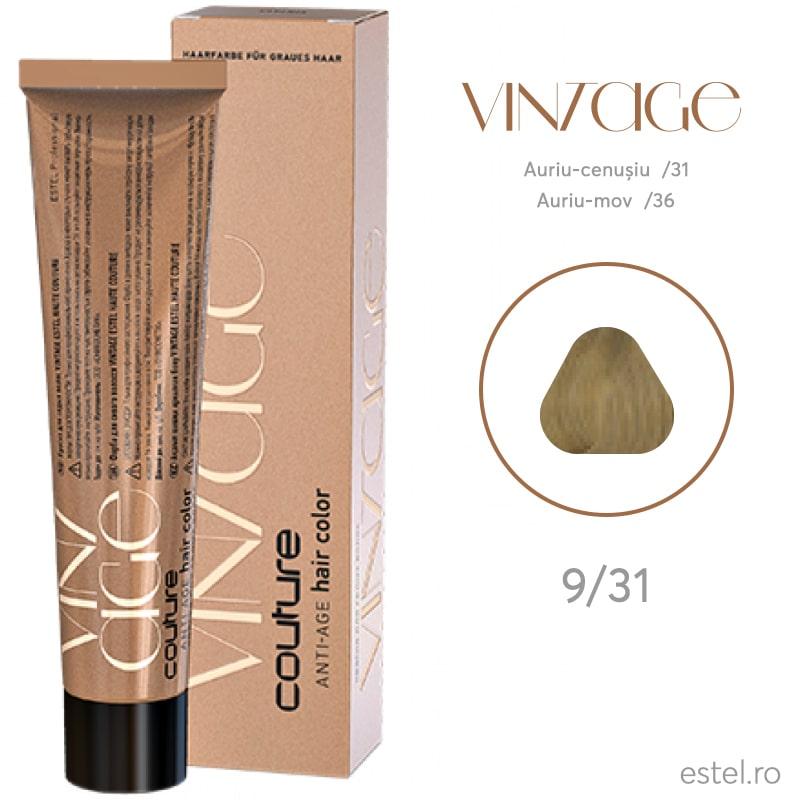 Vopsea permanenta pentru par HAUTE COUTURE Vintage 9/31 Blond auriu-cenusiu 60 ml