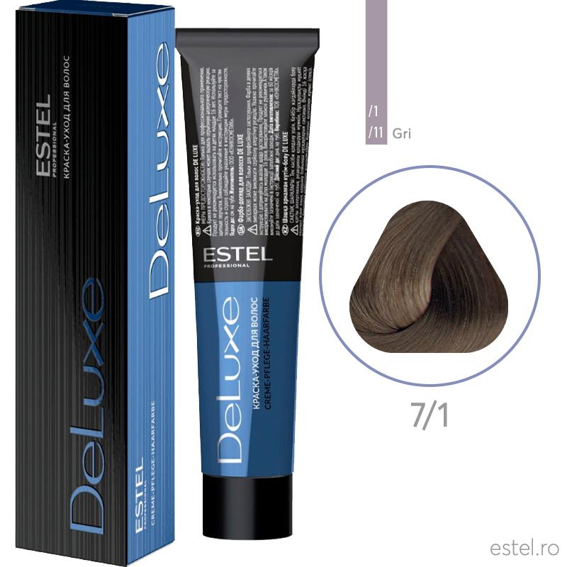 Vopsea permanenta de par De Luxe 7/1 Blond mediu cenusiu 60 ml