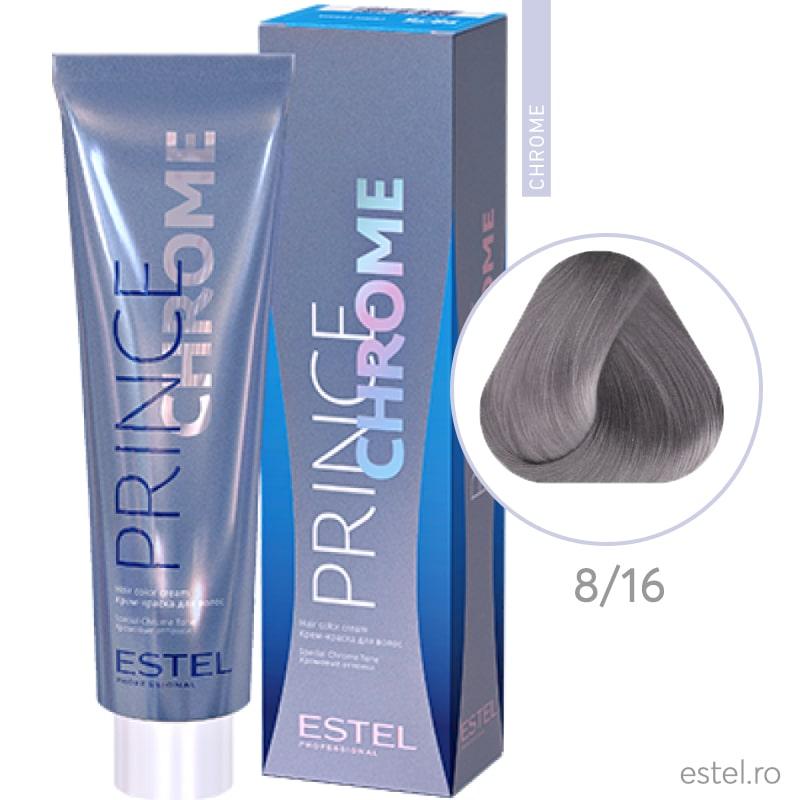 Prince Chrome Vopsea crema pt par 8/16 blond deschis- gri violet 100ml