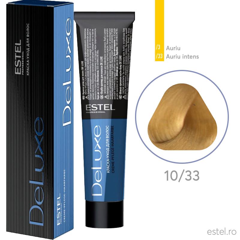 Vopsea permanenta de par De Luxe 10/33 Blond foarte deschis auriu intens 60 ml