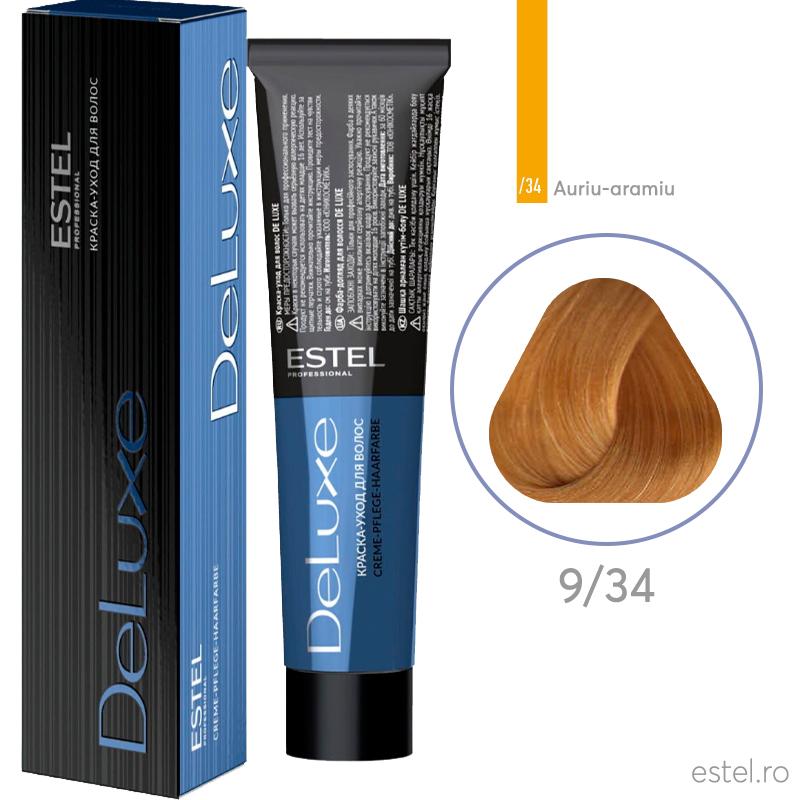 Vopsea permanenta de par De Luxe 9/34 Blond auriu-aramiu 60 ml