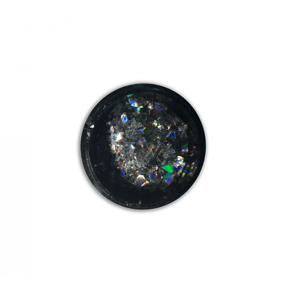 "96815Sclipici fulgi de gheata ""Didier Lab"", rainbow silver 0,6g/Cut mirror flakes ""Didier Lab"", rain"
