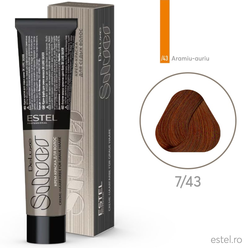 Vopsea permanenta de par De Luxe SILVER 7/43 Blond mediu aramiu-auriu 60 ml
