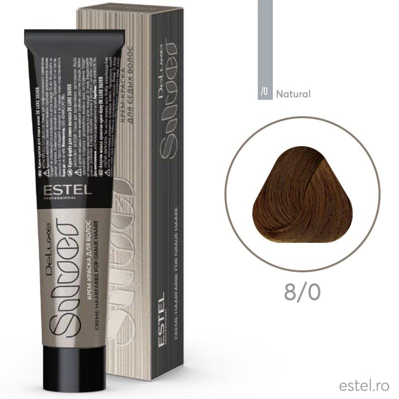 Vopsea permanenta de par De Luxe SILVER 8/0 Blond deschis 60 ml