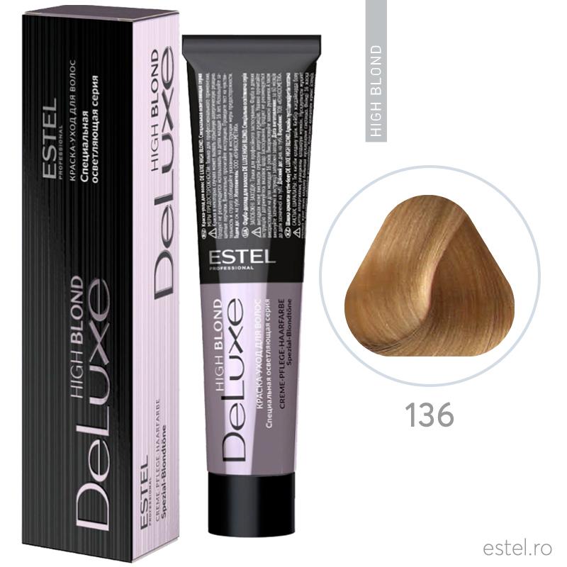 Vopsea permanenta de par De Luxe High Blond 136 Blond special auriu-mov 60 ml