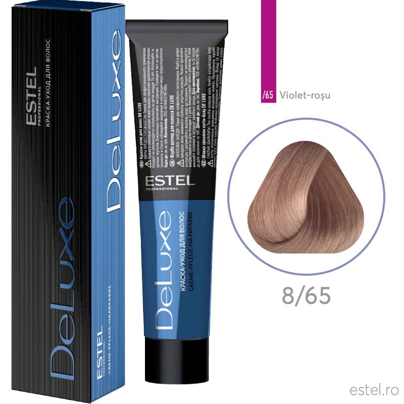 Vopsea permanenta de par De Luxe 8/65  Blond deschis mov-rosu 60 ml