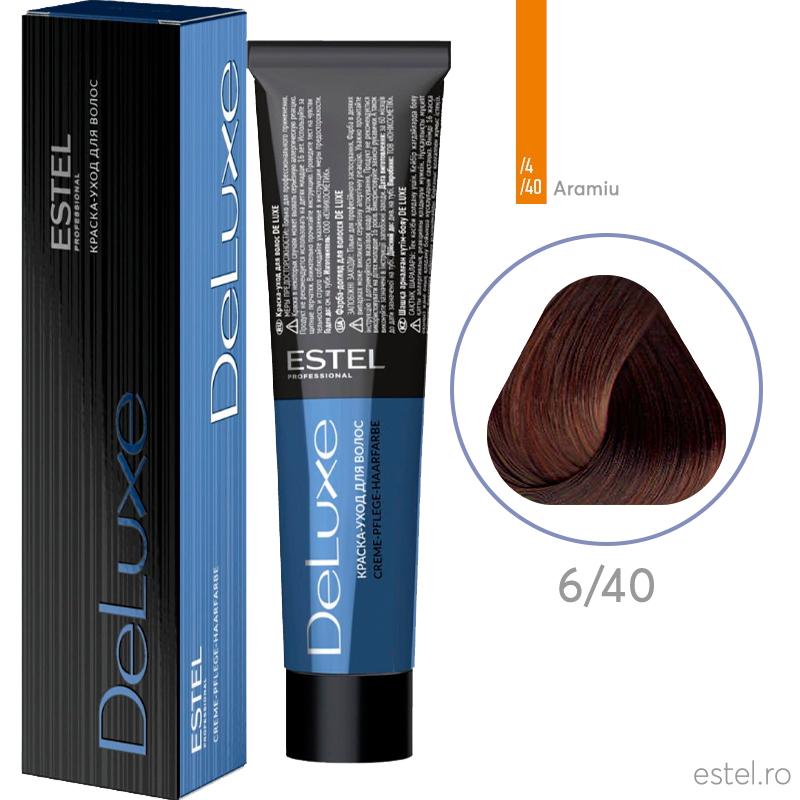 Vopsea permanenta de par De Luxe 6/40 Blond inchis aramiu pentru par alb 60 ml