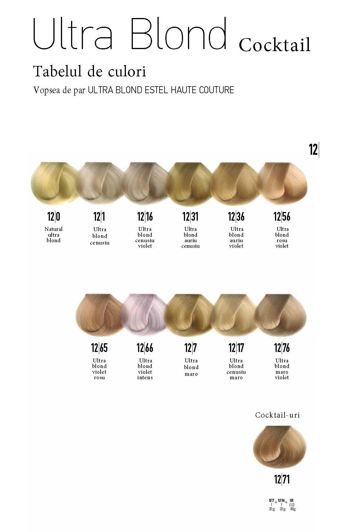 Vopsea permanenta pentru par Haute Couture Ultra Blond 12/76 Ultra blond maro violet 60 ml