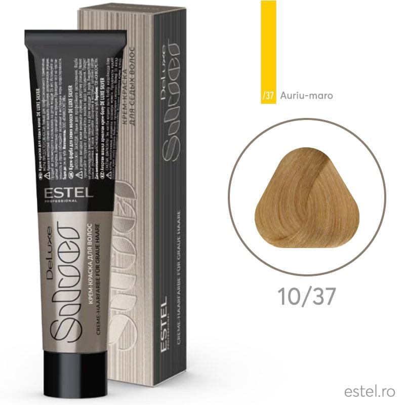 Vopsea permanenta de par De Luxe SILVER 10/37 Blond foarte deschis auriu-maro 60 ml