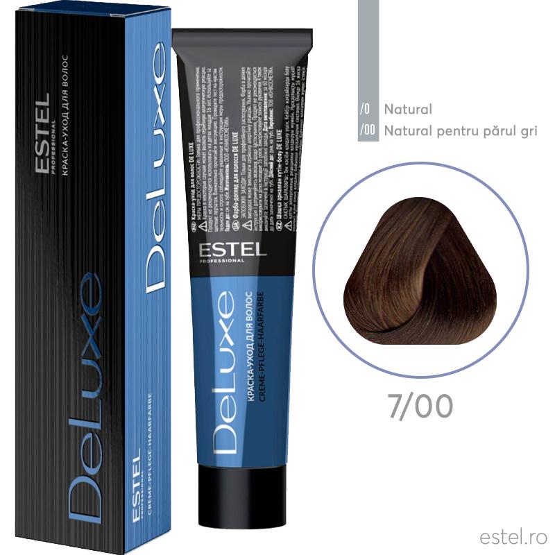 Vopsea permanenta de par De Luxe 7/00 Blond mediu pentru par alb 60 ml