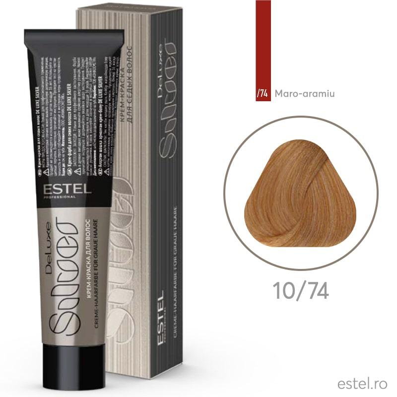 Vopsea permanenta de par De Luxe SILVER 10/74 Blond foarte deschis maro-aramiu 60 ml