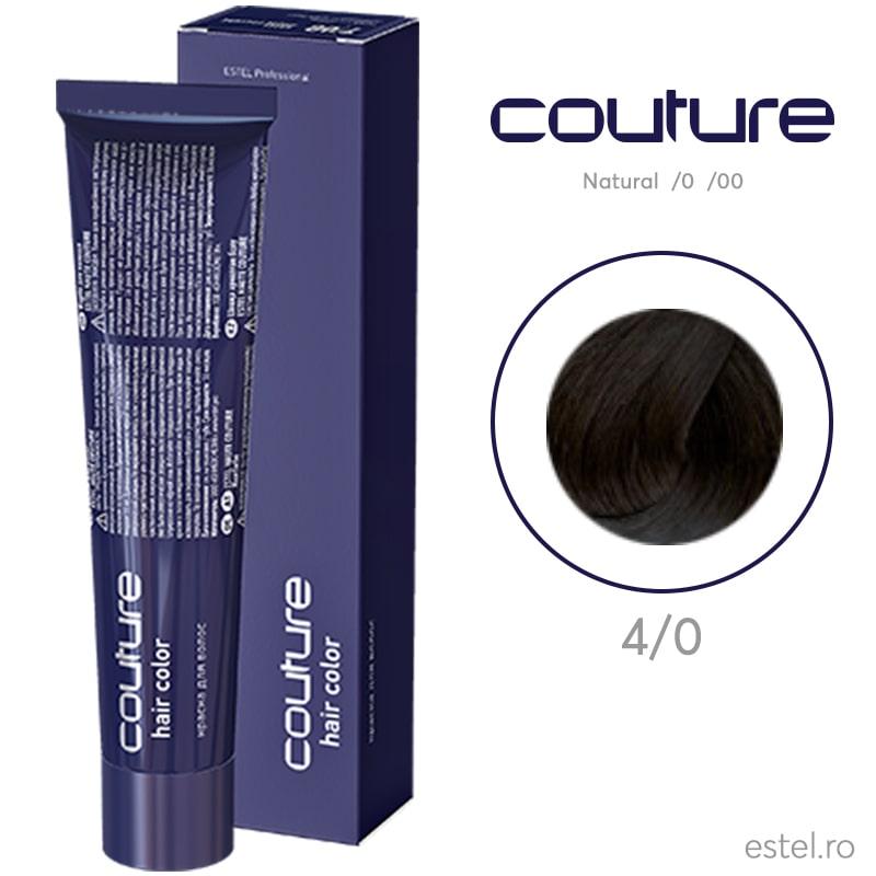 Vopsea permanenta pentru par Haute Couture 4/0 Castaniu mediu 60 ml