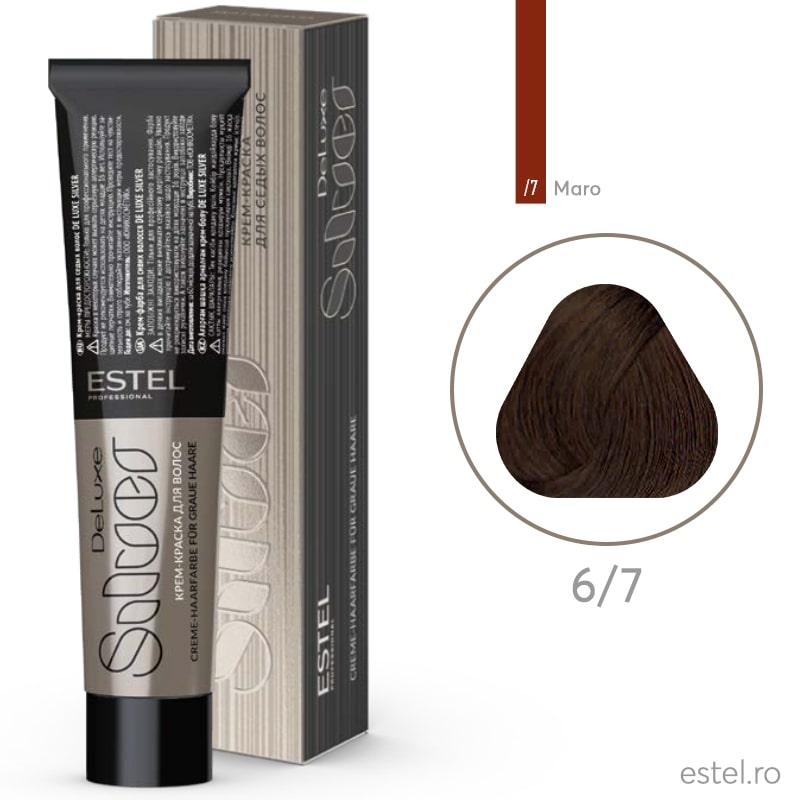 Vopsea permanenta de par De Luxe SILVER 6/7 Blond inchis maro 60 ml