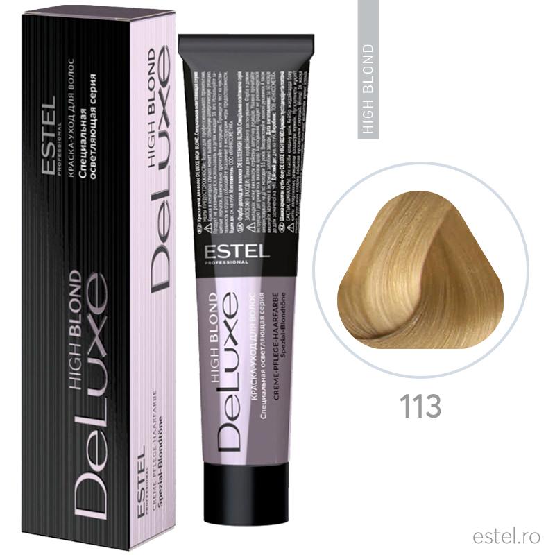 Vopsea permanenta de par De Luxe High Blond 113 Blond special cenusiu-auriu 60 ml