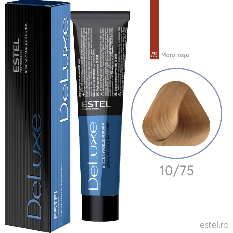 Vopsea permanenta de par De Luxe 10/75 Blond foarte dechis maro-rosu 60 ml