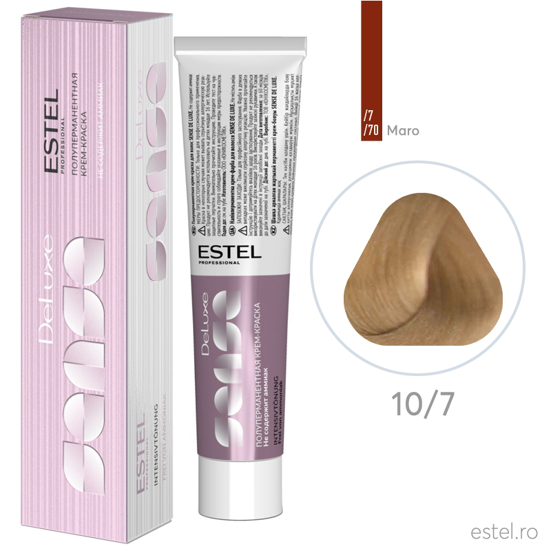 Vopsea semipermanenta de par De Luxe Sense 10/7 Blond foarte deschis maro 60 ml
