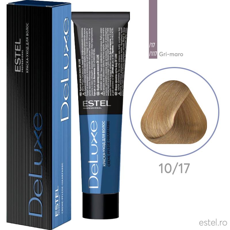 Vopsea permanenta de par De Luxe 10/17 Blond foarte deschis cenusiu-maro 60 ml