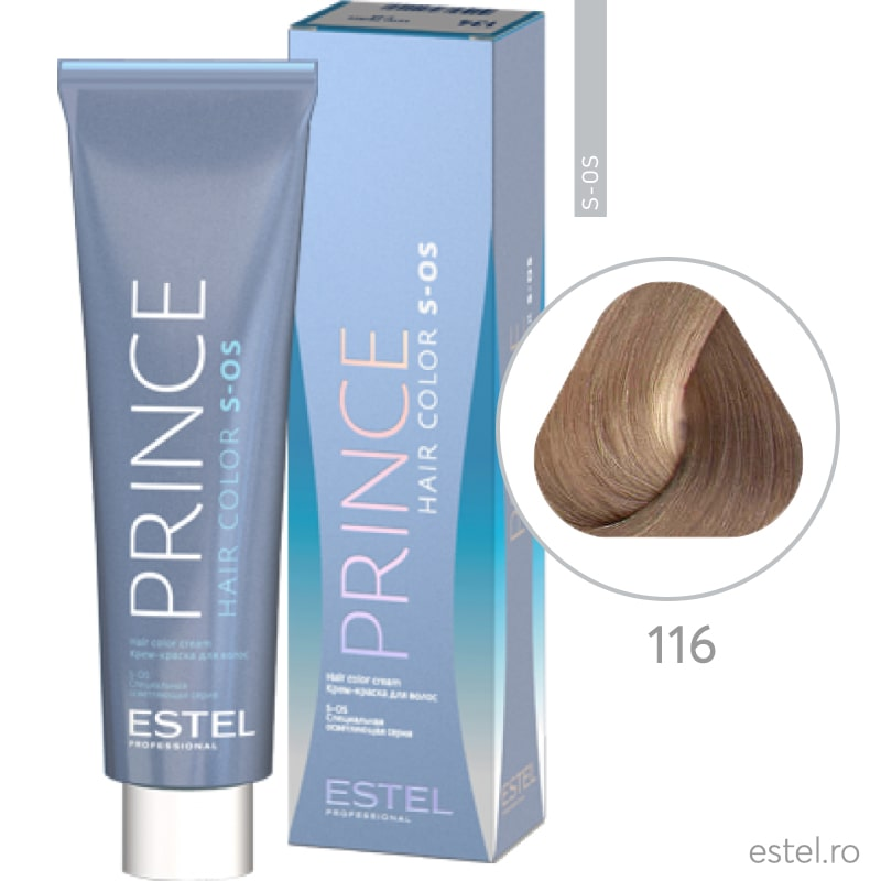 Prince S-OS Vopsea permanenta pentru par 116 Super-blond gri-violet 100 ml