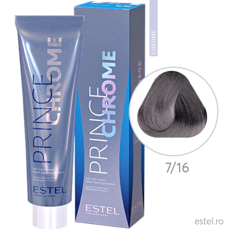 Prince Chrome Vopsea crema pt par 7/16 blond-gri violet 100ml