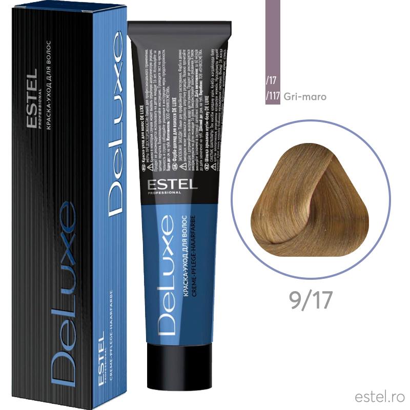 Vopsea permanenta de par De Luxe 9/17 Blond cenusiu-maro 60 ml