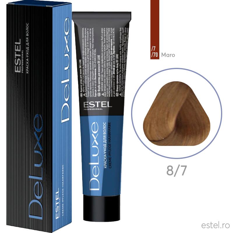 Vopsea permanenta de par De Luxe 8/7 Blond deschis maro 60 ml