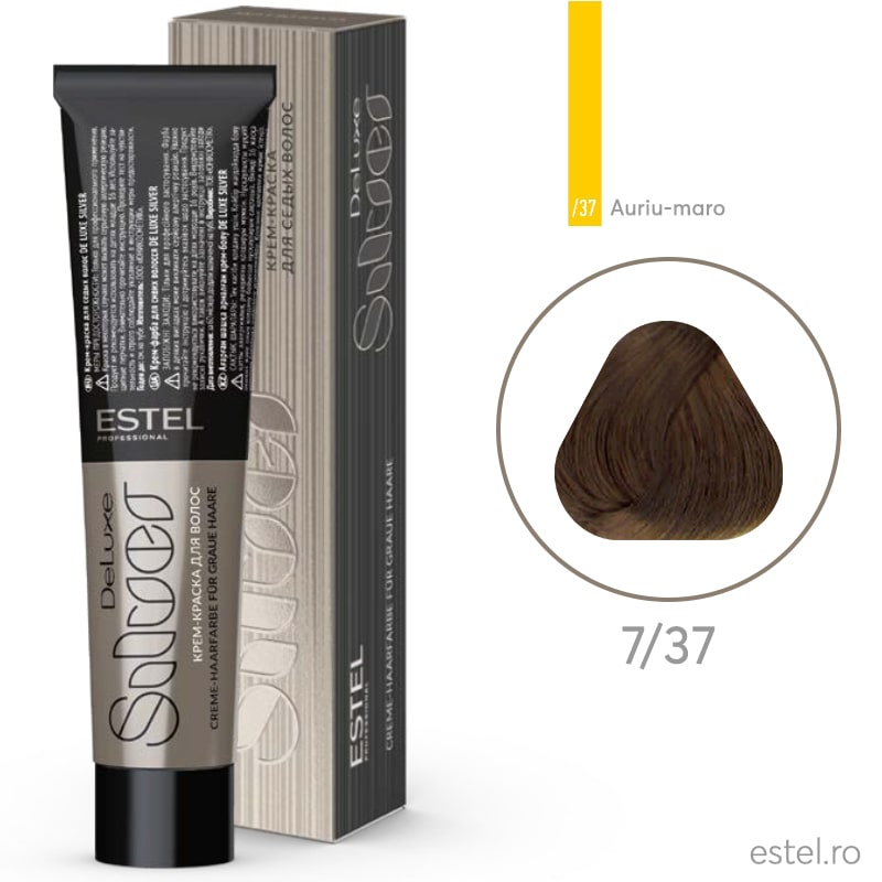 Vopsea permanenta de par De Luxe SILVER 7/37 Blond mediu auriu-maro 60 ml