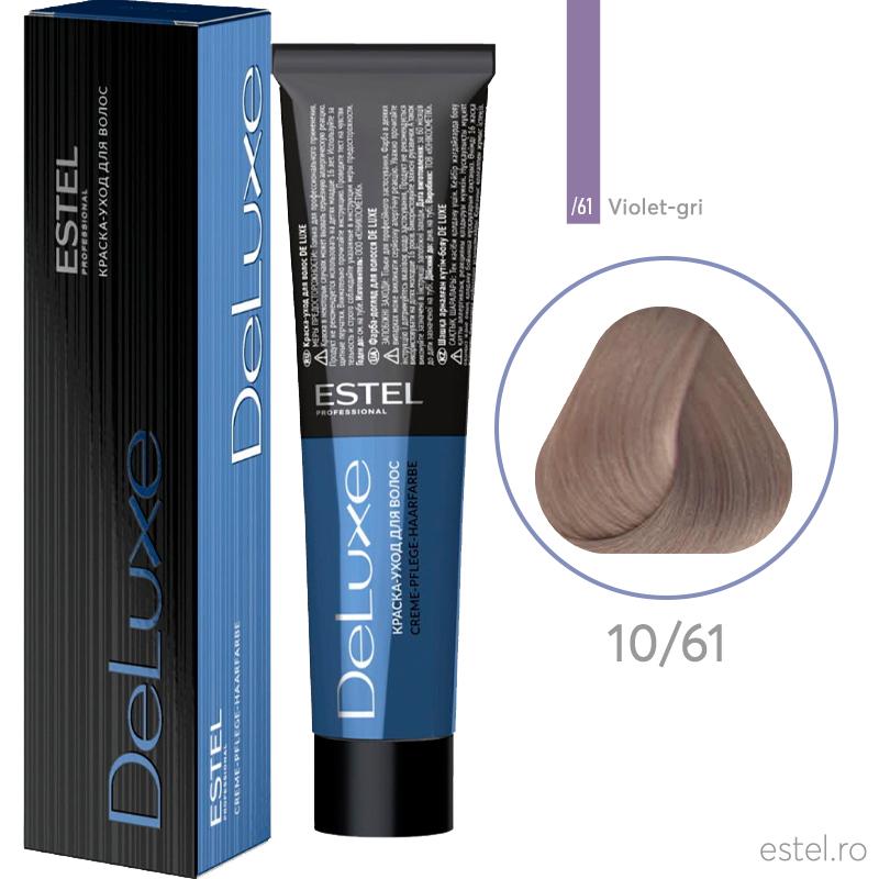 Vopsea permanenta de par De Luxe 10/61Blond foarte deschis mov-cenusiu 60 ml