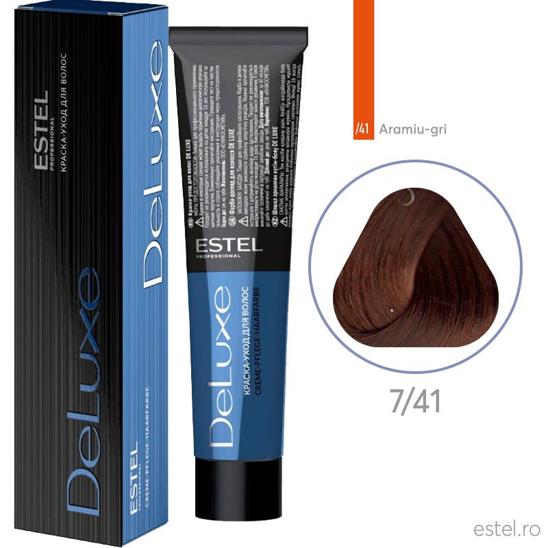 Vopsea permanenta de par De Luxe 7/41 Blond mediu aramiu-cenusiu 60 ml