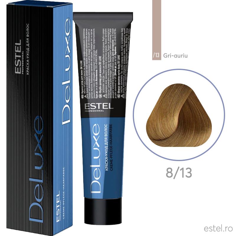 Vopsea permanenta de par De Luxe 8/13 Blond deschis cenusiu-auriu 60 ml