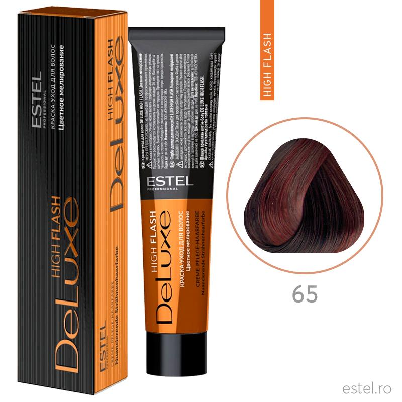 Vopsea permanenta de par De Luxe High Flash 65 Mov-rosu 60 ml