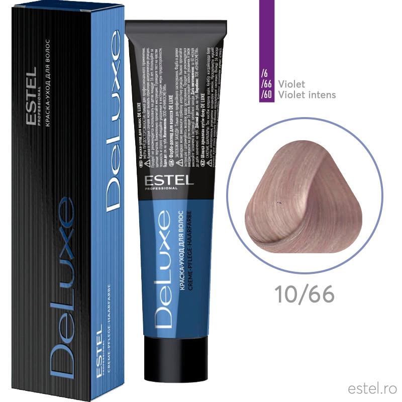 Vopsea permanenta de par De Luxe 10/66 Blond foarte dechis mov intens 60 ml