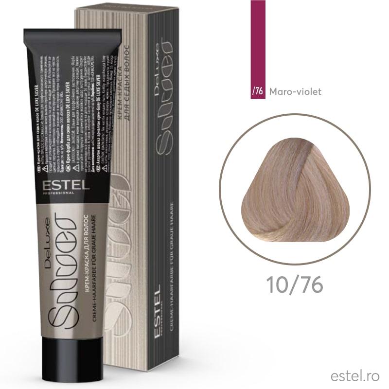Vopsea permanenta de par De Luxe SILVER 10/76 Blond foarte deschis maro-mov 60 ml