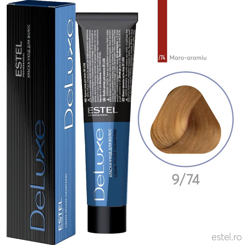 Vopsea permanenta de par De Luxe 9/74 Maro-aramiu 60 ml