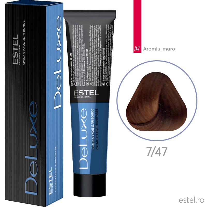 Vopsea permanenta de par De Luxe 7/47 Blond mediu aramiu-maro 60 ml