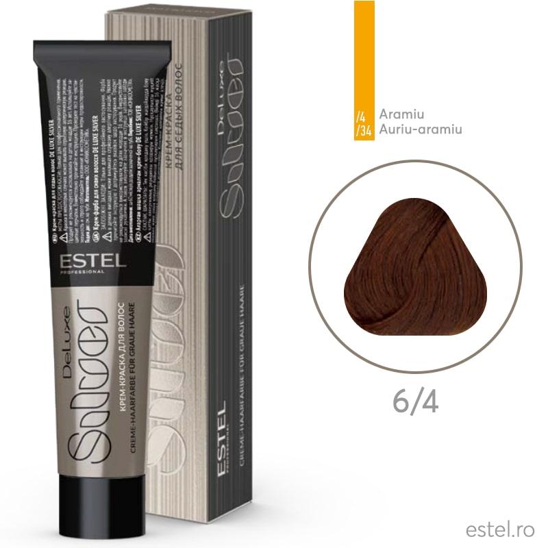 Vopsea permanenta de par De Luxe SILVER 6/4 Blond inchis aramiu 60 ml