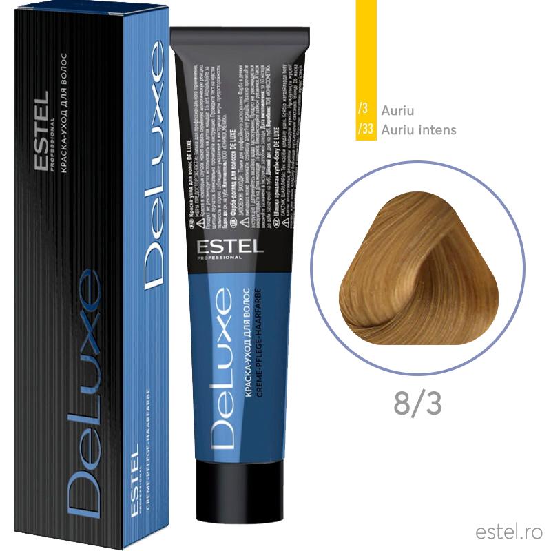 Vopsea permanenta de par De Luxe 8/3 Blond deschis auriu 60 ml