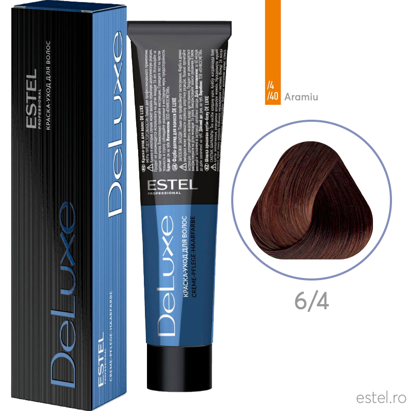 Vopsea permanenta de par De Luxe 6/4 Blond inchis aramiu 60 ml